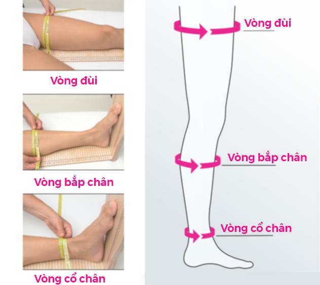 Đo 3 vòng chân, sau đó đối chiếu lên bảng đo size để chọn đúng size vớ