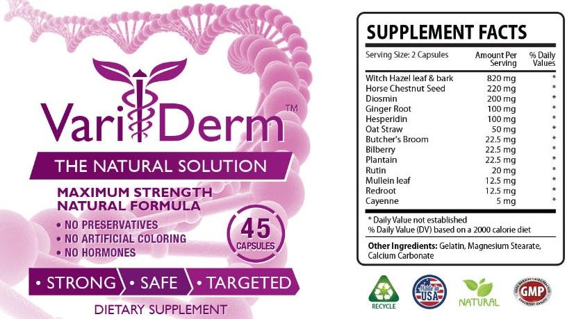 Thành phần và hàm lượng các loại thảo dược có trong Variderm