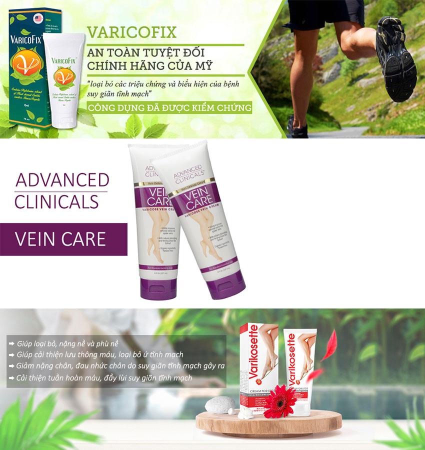 Các dòng sản phẩm kem giãn tĩnh mạch chủ yếu có các công dụng giúp hỗ trợ điều trị giãn tĩnh mạch chân