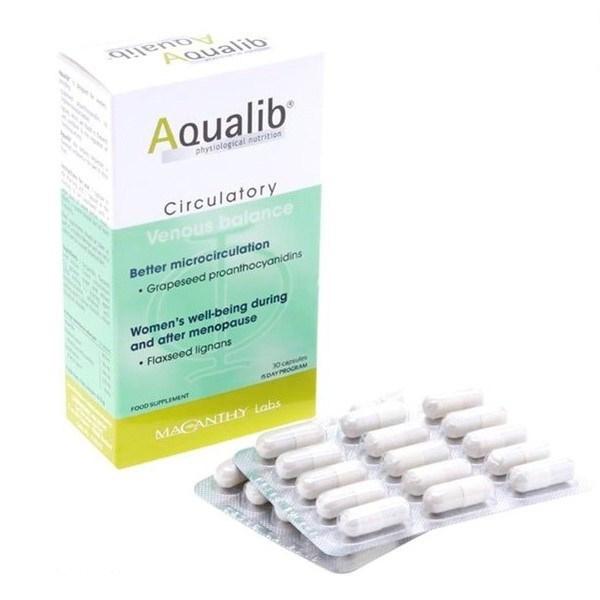 Viên uống hỗ trợ suy giãn tĩnh mạch Aqualib 16.5g, Hộp 30 Viên