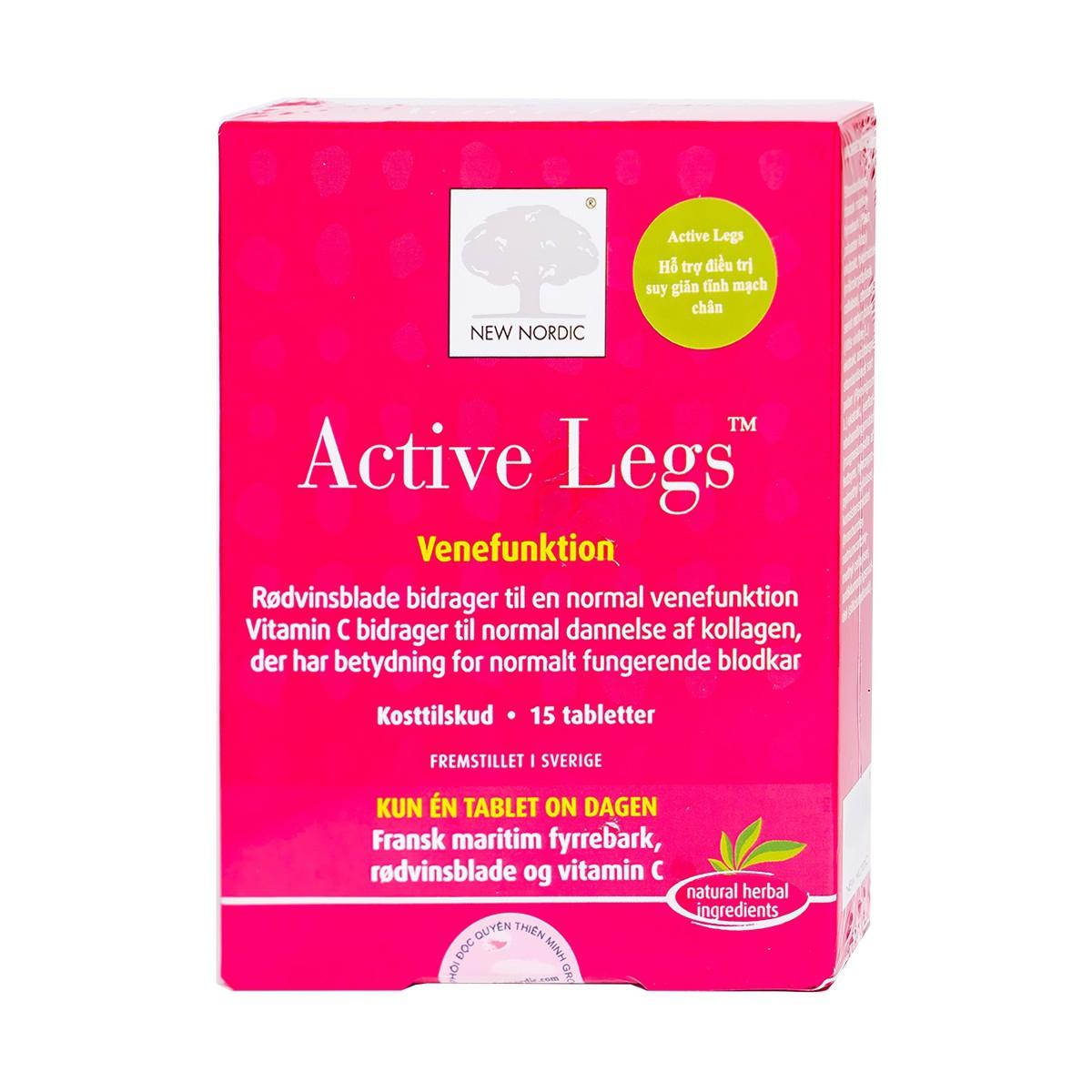 Viên uống hỗ trợ suy giãn tĩnh mạch New Nordic Active Legs, Hộp 15 viên